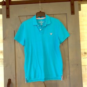 American Eagle Turquoise and Pink classic fit polo